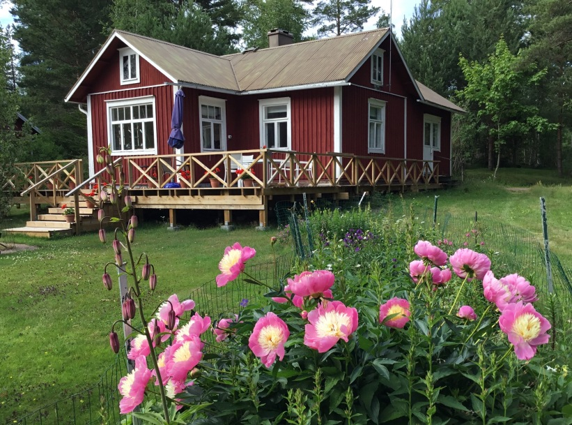 guest house and peonies